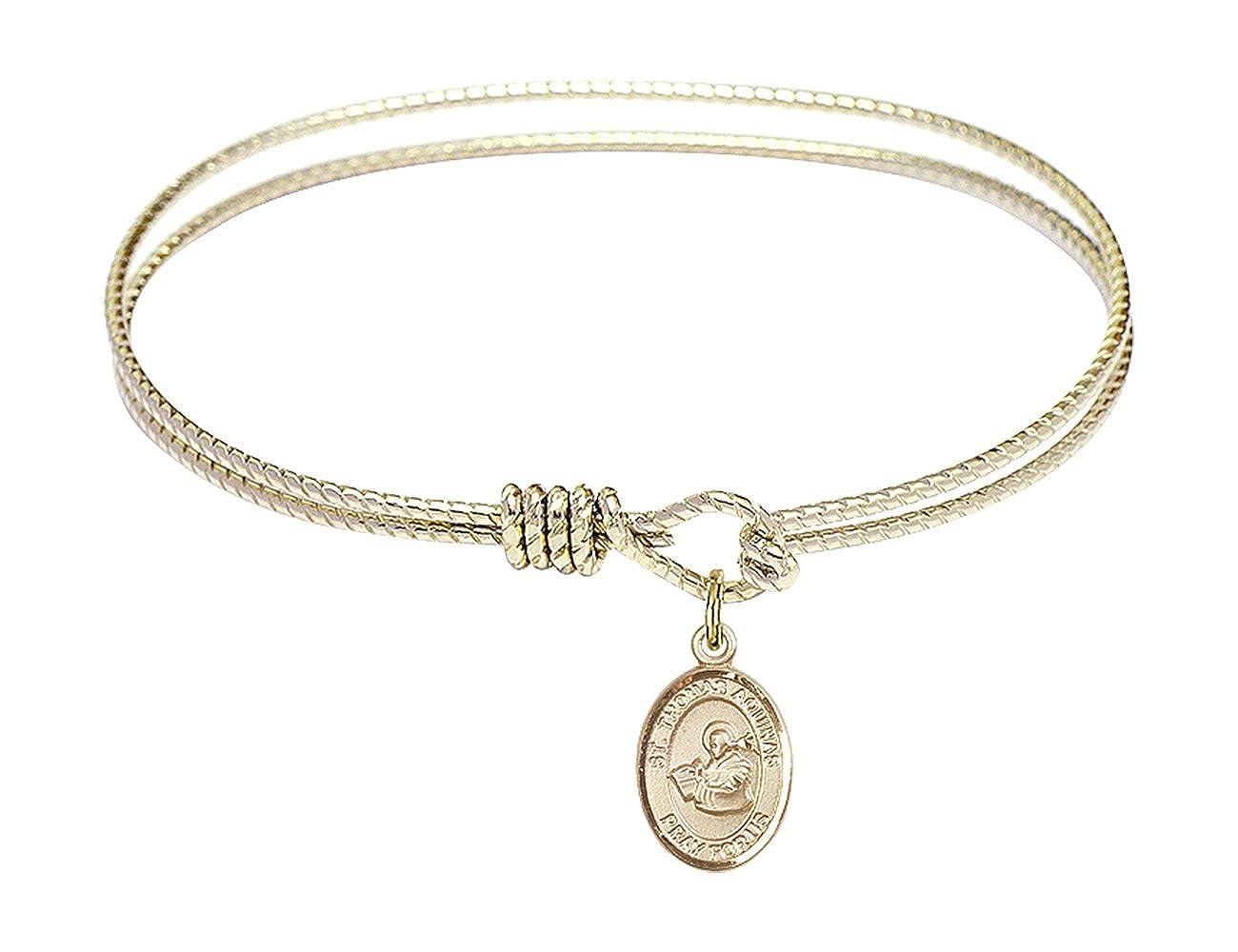Thomas Aquinas charm. 6 1//4 inch Oval Eye Hook Bangle Bracelet with a St