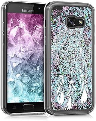 3c88e79da18 kwmobile Funda para Samsung Galaxy A3 (2017) - Carcasa Protectora de [TPU]  para móvil - Cover [Trasero] en [Blanco/Azul Claro/Transparente]
