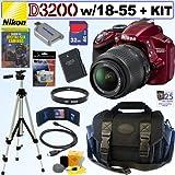 Nikon D3200 24.2 MP CMOS Digital SLR Camera (Red) with 18-55mm f/3.5-5.6 AF-S DX VR NIKKOR Zoom Lens + EN-EL14 Battery + 32GB Deluxe Accessory Kit, Best Gadgets