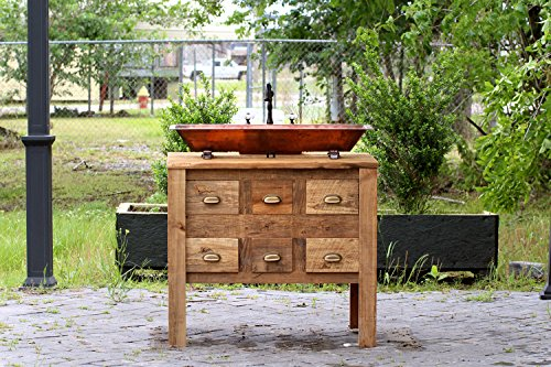 """Copper Trough Sink 36"""" Reclaimed Wood Bath Vanity Cabinet Apothecary Chest Single Bath Console Package"""