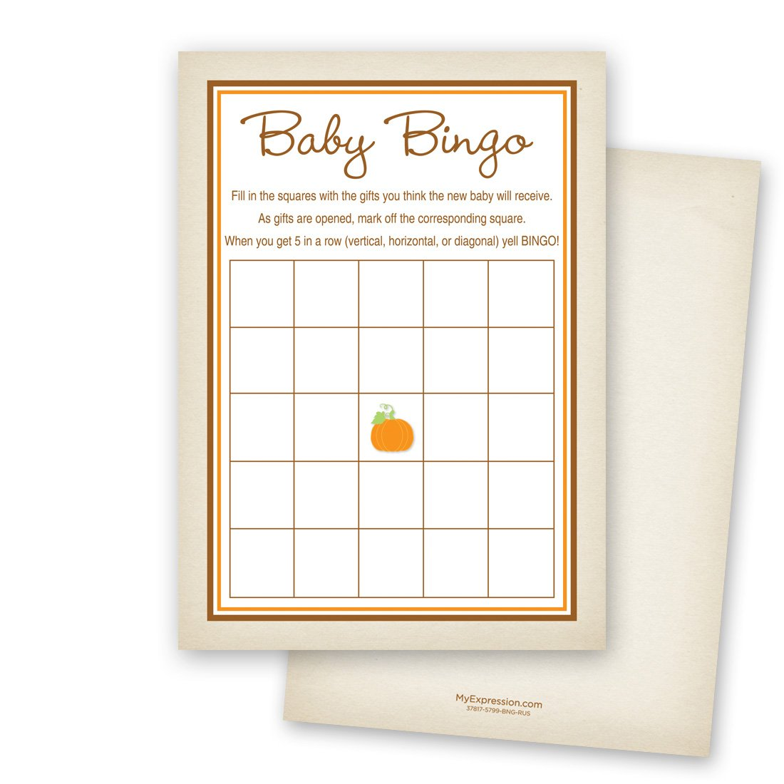 MyExpression.com 24 Little Pumpkin Rustic Border Baby Bingo Cards
