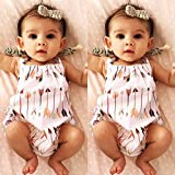AMA(TM) Newborn Infant Baby Girls Summer Straps Romper Jumpsuit Playsuit Sunsuit Outfits (6-12M, White)