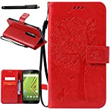 Moto X Play Case, Linkertech [Stand Feature] PU Leather Wallet Case Flip Protective Cover with Card Slots & Wrist Strap for Moto X Play / Droid Maxx 2 (5.5 Inch) 2015 Smartphone, RED