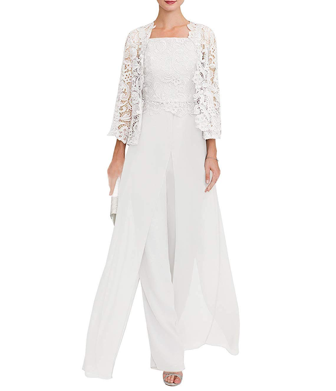 Clothsure Womens Lace Dress 3 Piece Mother Of The Bride Pant Suits Long Sleeve With Jacket Evening Cocktail Dresses White