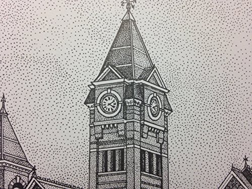 Auburn Samford Hall pen and ink 11''x14'' print by Campus Scenes (Image #2)