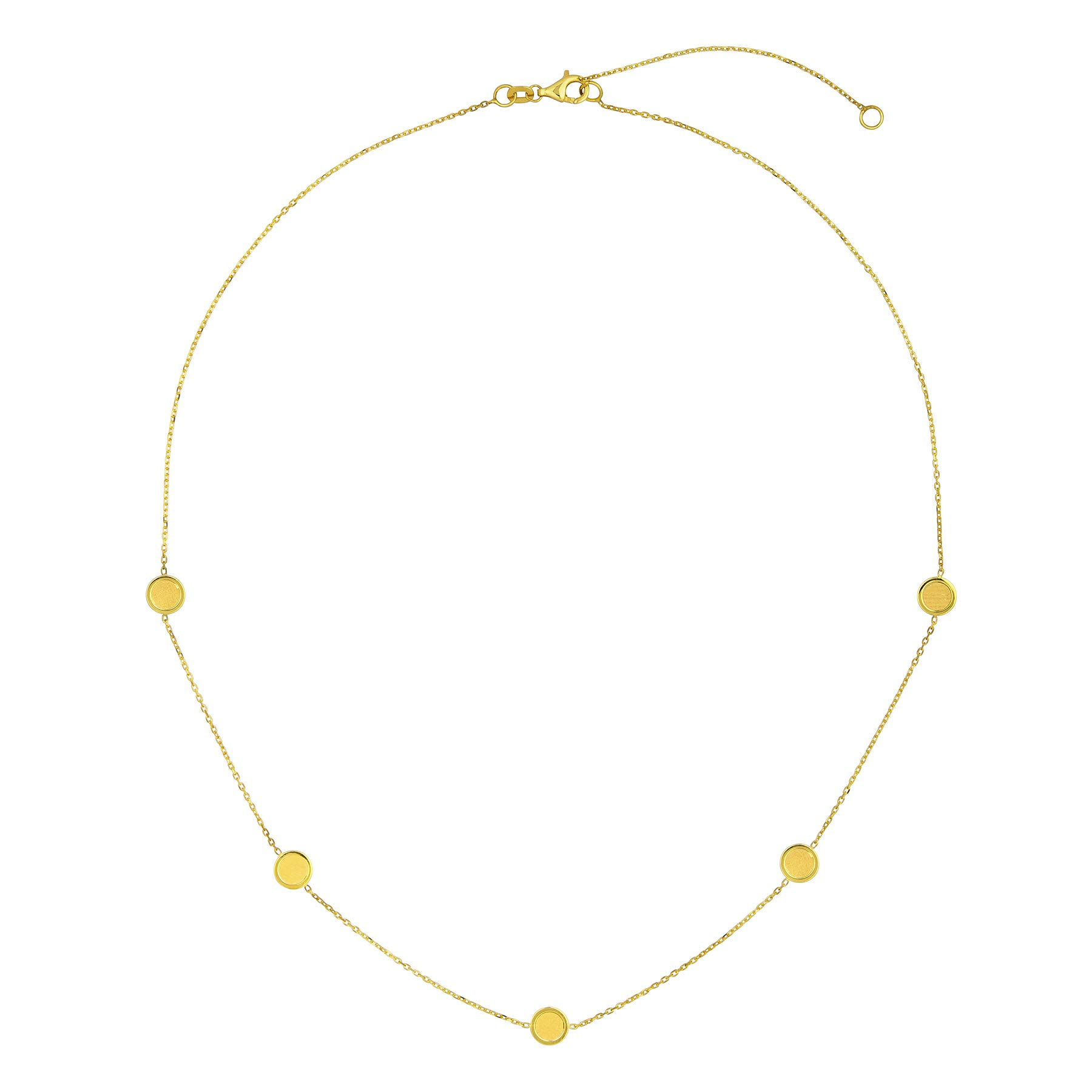 14k Italian Yellow Gold Satin Disc 5- Station Necklace, Adjustable 16''-18''