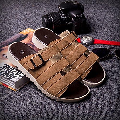 Xing Lin Sandalias De Hombre Tendencia De Verano Chanclas Sandalias Zapatos Atar Zapatillas Zapatillas Nuevas Zapatillas De Playa De Moda Zapatos Zapatos De Hombre 44082 Brown