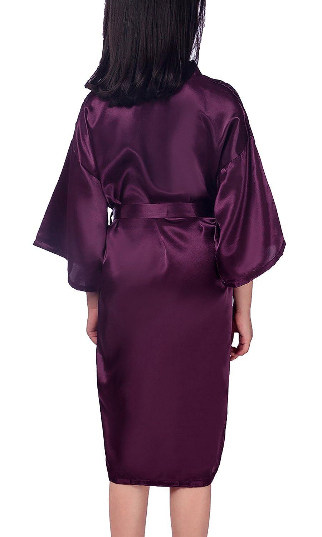 Color Puro Robe Albornoz Ropa de Dormir Pijama SPA nataci/ón cumplea/ños YAOMEI Ni/ños Ni/ña Vestido Kimono Sat/én Camis/ón para Ni/ña