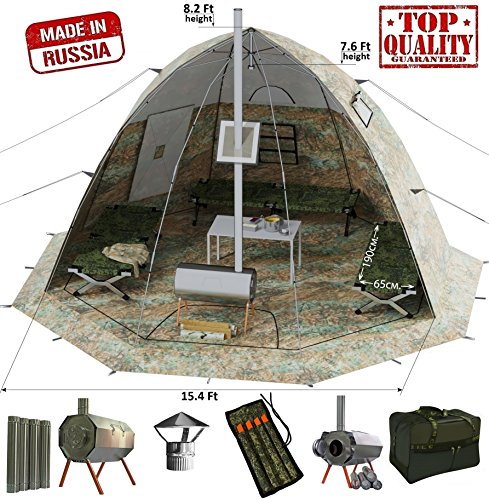 Russian-Bear Winter Tent with Stove Pipe Vent. Hunting Fishi