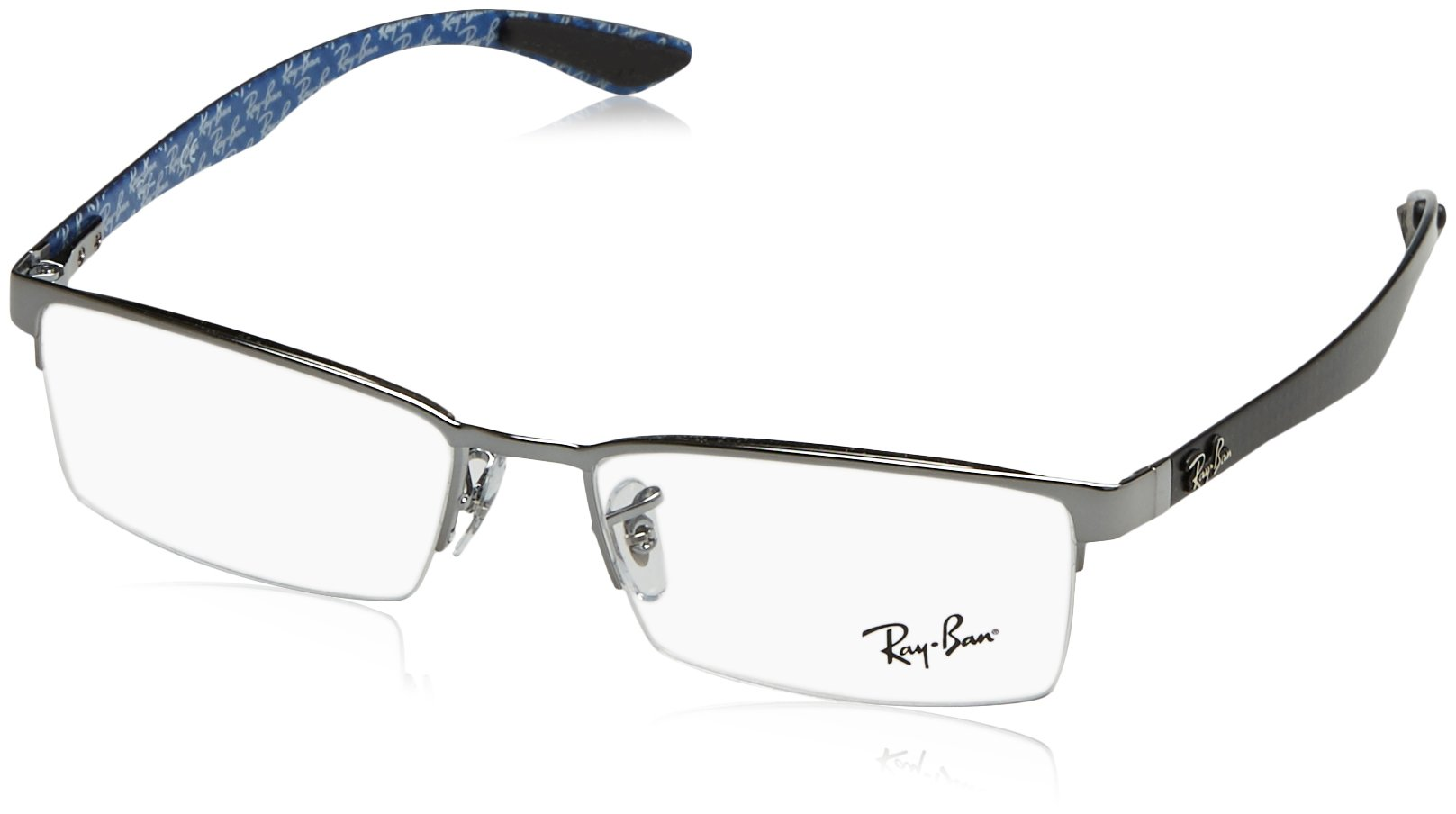 Ray-Ban Men's 0rx8412 No Polarization Rectangular Prescription Eyewear Frame, Gunmetal, 54 mm