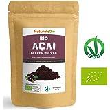 Açaí Beeren Pulver Bio [ Gefriergetrocknet ] 200g | Pure Organic Acai Berry Powder (Freeze-Dried) | 100% aus Brasilien, Getrocknet, Rohkost und Extrakt aus Pulp der Acai-Beeren Frucht | NATURALEBIO