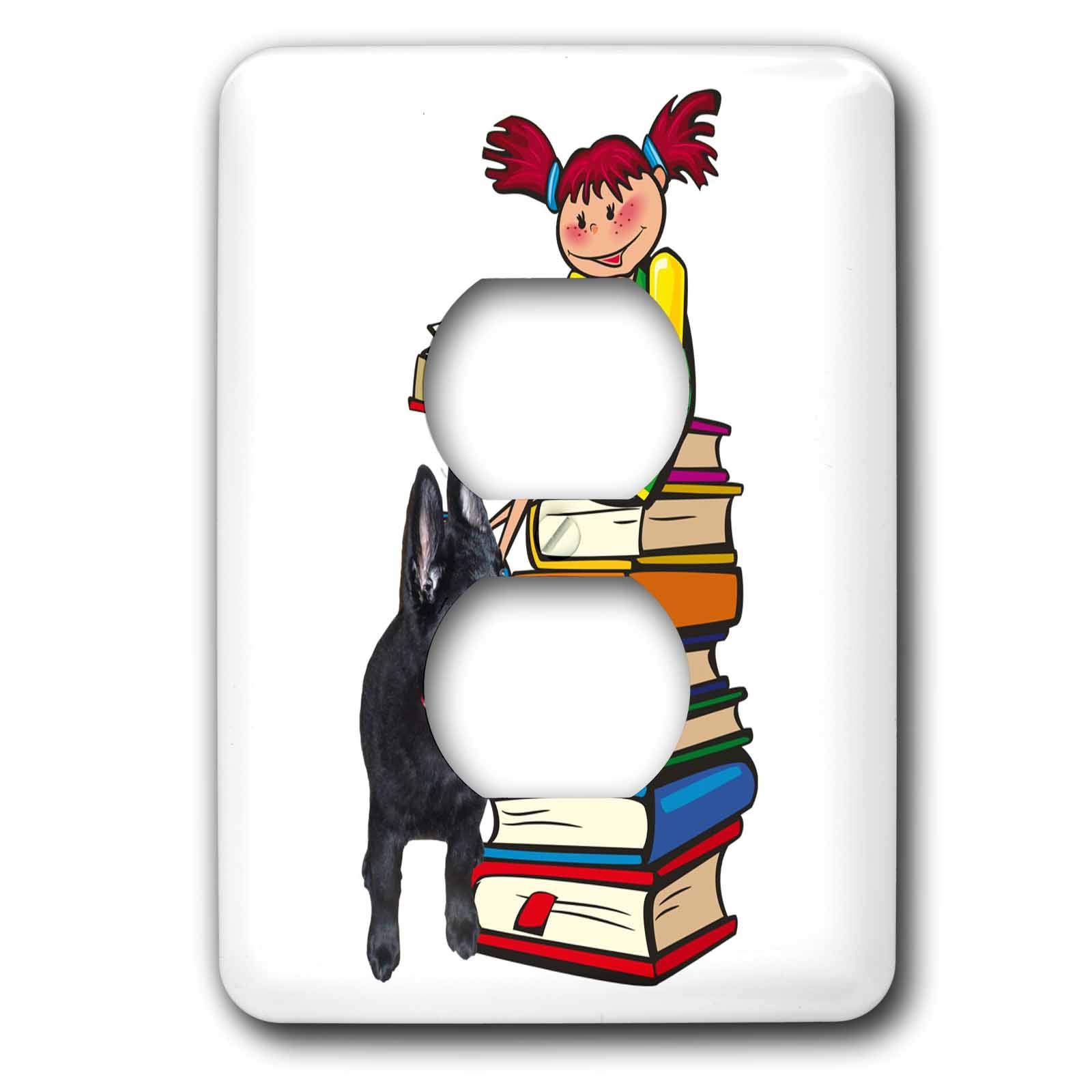 3dRose Sandy Mertens Dog Designs - Study Buddy GSD Puppy with School Girl on Books, 3drsmm - Light Switch Covers - 2 plug outlet cover (lsp_295174_6)