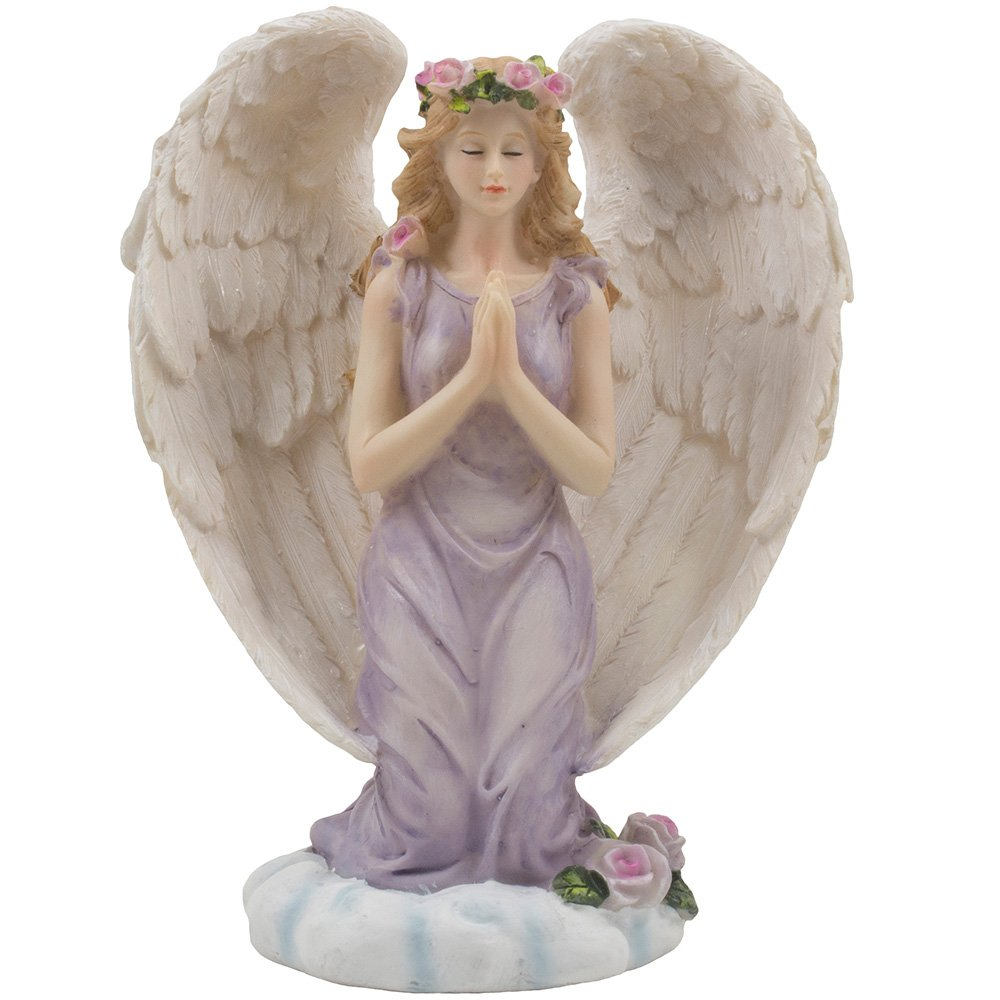 Kneeling Angel in Prayer Figurine on a Heavenly Cloud with Accents of Roses for Spiritual, Religious and Christian Home…