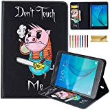 Galaxy Tab A 8.0 2015 Case, SM-T350 Case, Dteck(TM) Premium Synthetic Leather Wallet Case with [Card Money Slots] Pretty Cute Cartoon Flip Stand Cover for Samsung Galaxy Tab A 8.0-Power Saw Pig