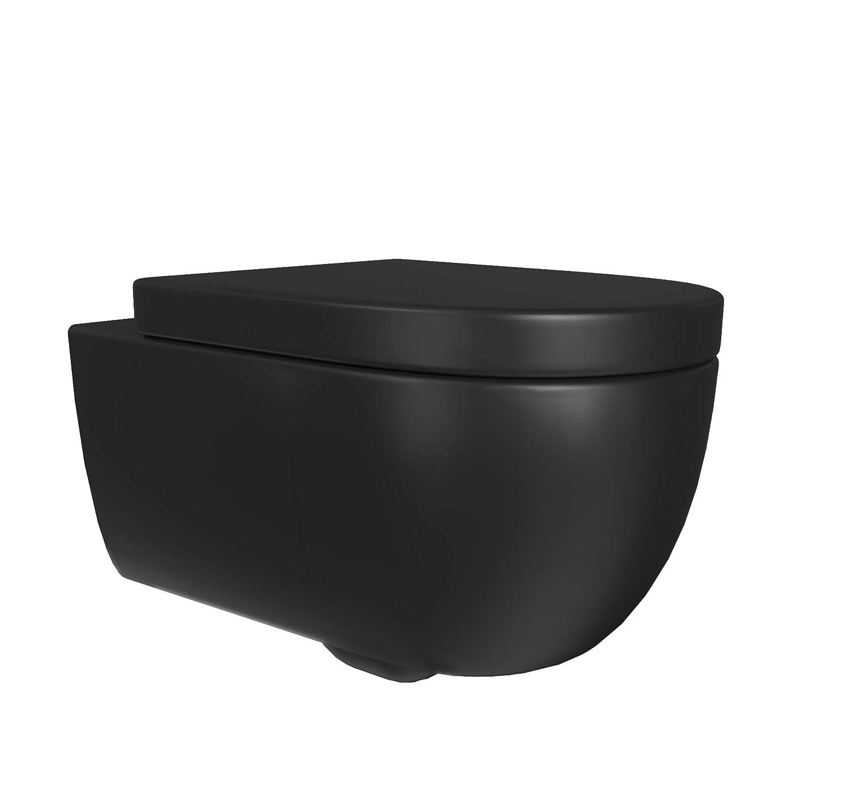 Design H/änge-WC Blankenburg Sp/ülrandlose Toilette inkl Wand-WC ohne Rand Badezimmer WC-Sitz| Keramik schwarz matt WC-Sitz mit Absenkautomtik /& und abnehmbar Softclose