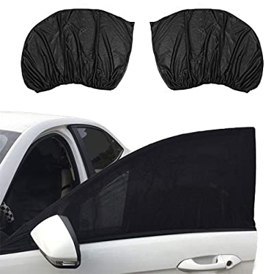 VideoPUP Universal Car Side Window Sun Shade, 2PCS Car Window Sunshade, Mosquito Cover, Sun Protection Protect Your Car and Kids from The Sun(Car Front Window): Automotive