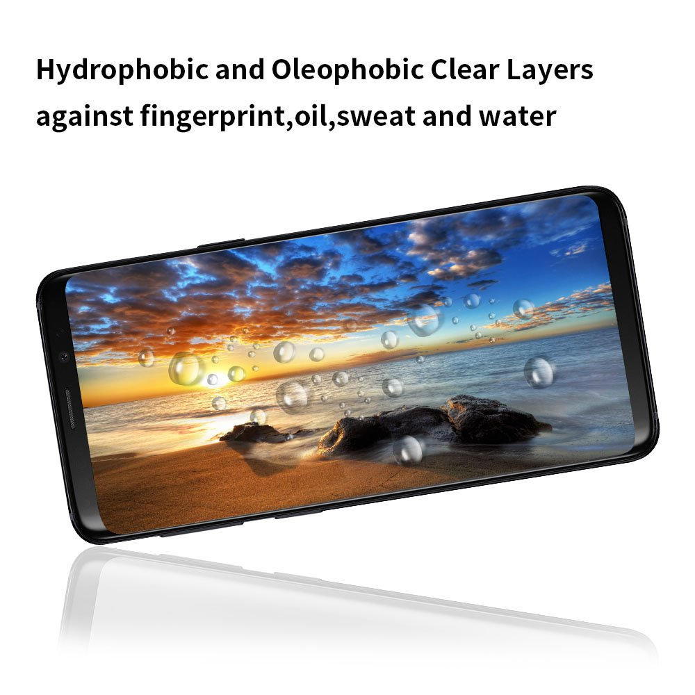 EyeO2 for Samsung Galaxy S9 Screen Protector 3D Curved Full Adhesive Tempered Glass 9H Anti-scratch, Anti-fingerprint Screen Guard Full Coverage Edge to Edge HD Screen Film 2 Pack Case Friendly