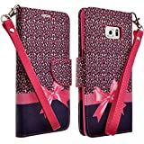 Samsung Galaxy S6 Edge Plus / Samsung Galaxy S6 Edge+ Case (2015) Case - Magnetic Leather Folio Flip Book Wallet Pouch Case Cover With Fold Up Kickstand and Detachable Wrist Strap - Hot Pink Cheetah