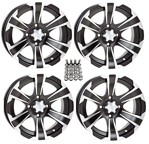 ITP SS312 ATV Wheels/Rims Black 12'' Honda Rincon Yamaha Rhino Kawasaki Brute Force Suzuki KingQuad (4) by Powersports Bundle