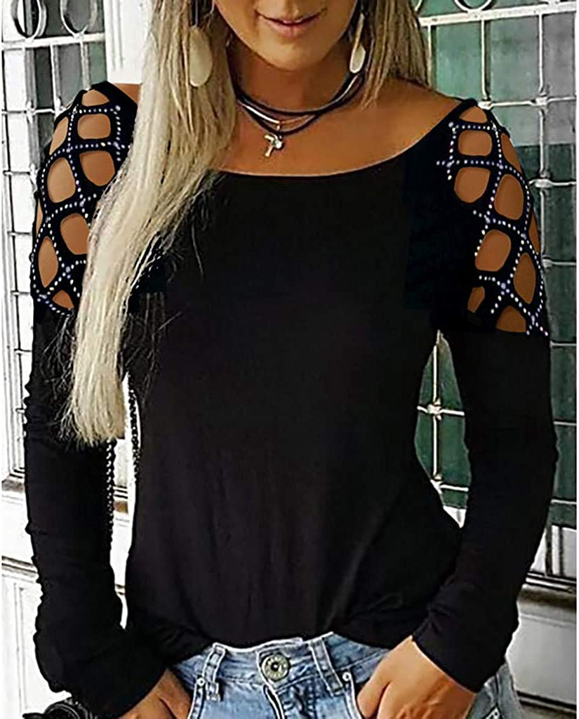 Women Casual T Out Shirt Blouse Hollow Long Tee Sleeve Tops Studded Loose Ladies