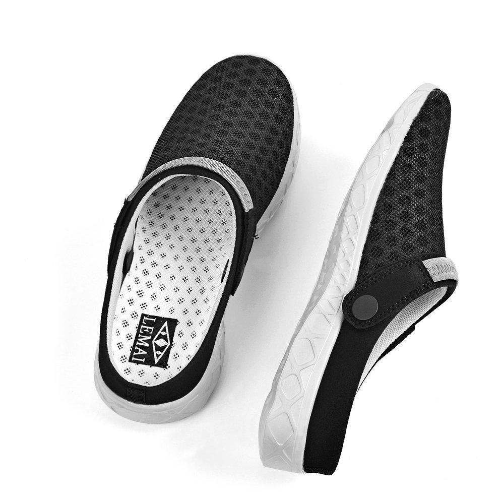 Feetmat Women's Clogs Mesh Lightweight Quick Drying Water Shoes Slip On Garden Shoes Slippers Sandals for Summer B07BHNNDZ8 7 B(M) US|Blackgray