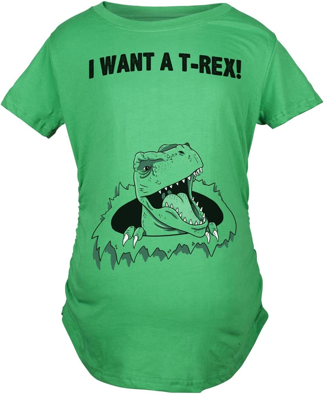Maternity I Want A T-Rex Funny T Shirt Im Pregnant Dinosaur Pregnancy Tee