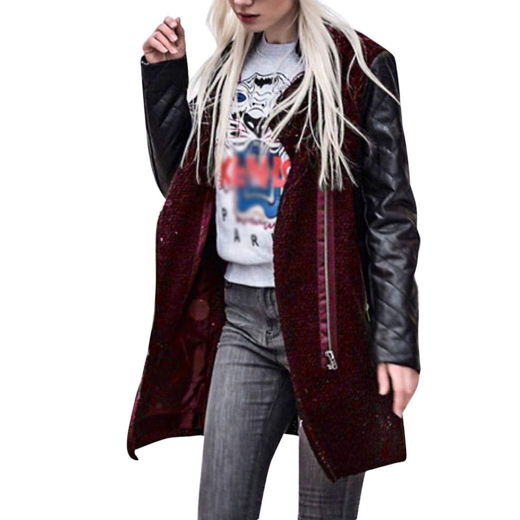 Spbamboo Womens Coat Zipper Leather Splice Windbreaker Slim Coats Winter Jackets