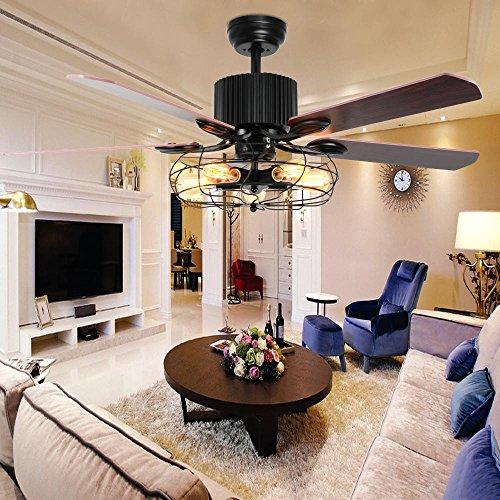 LuxureFan Retro Industrial Ceiling Fan Light for Restaurant/Living Room with Create Iron Cage Cover Pull Chain/Remote and 5 Reversible Wood Leaves (52Inch)