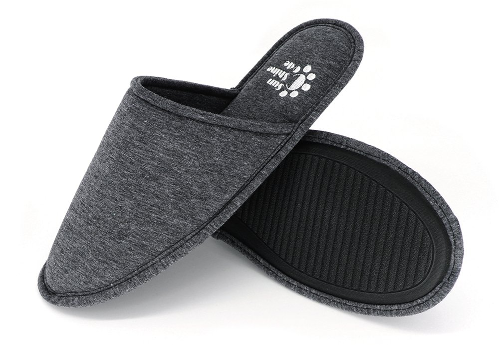 Men's 4 Seasons Cotton Washable Slippers with Matching Travel Bag for Home Hotel Spa Bedroom, M, Black