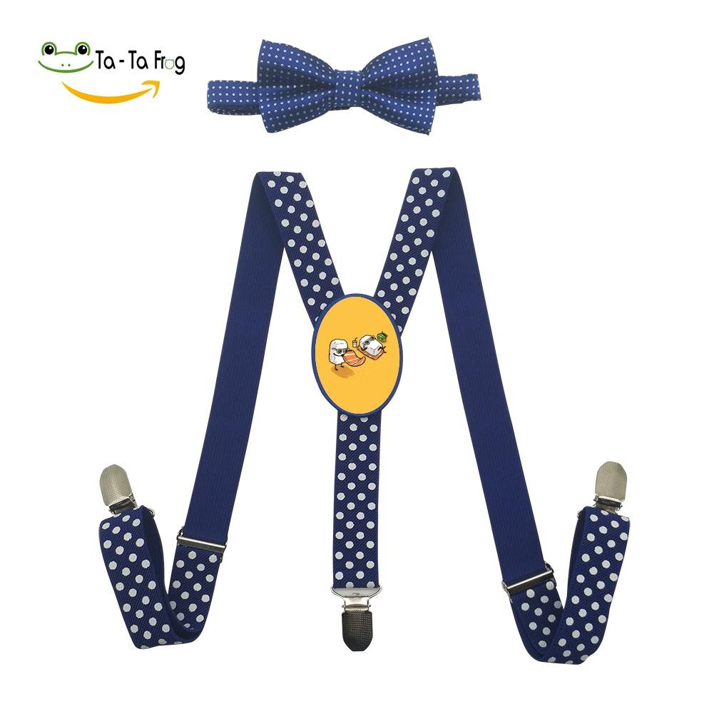 Xiacai Summer Sushi Suspender&Bow Tie Set Adjustable Clip-On Y-Suspender Children