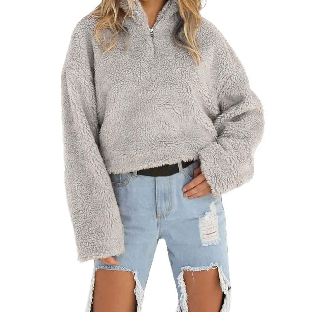 UONQD Women Coat Winter Warm Wool Zipper Cotton Coat Blouse (Small,Gray)