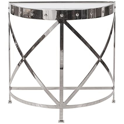 Worlds Away Half Round Studded Nickel Plated Console Table
