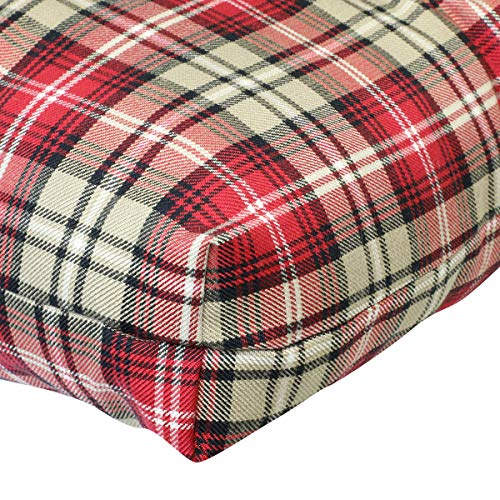 Prettyshop4246 Wicker Warm Cushion Seat Pad Indoor Outdoor Poolside Home Garden Patio Backyard Balcony Linen Fabric Made in USA Product Soap Maintain Easy Clean Red Scott Color Set of 2 Pcs by Prettyshop4246 (Image #8)
