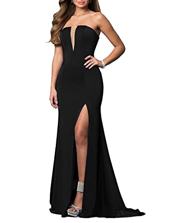 Prom Dress V-Neck Satin High Slit Sleeveless Long 2018 Formal Dresses Mermaid Evening Dress