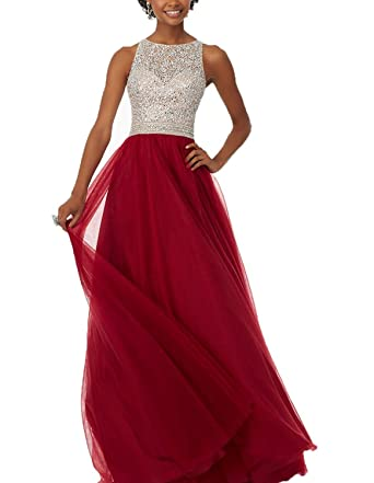 NaXY A-Line Tulle Sequin Beaded Prom Dress Long Wedding Evening Gown