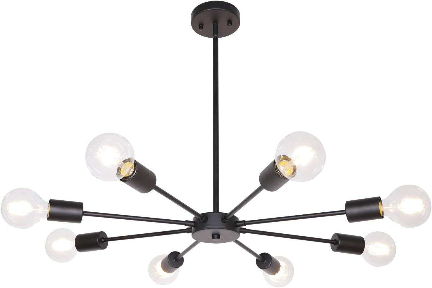 Sputnik Lights Black 8 Lights Mid Century Chandelier Modern Ceiling Light Metal Pendant Lighting for Kitchen Dining Room Bedroom UL Listed by MELUCEE