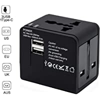 Universal Travel Adapter, MancX All-in-one International USB Travel Adapter with High Speed 2.4A 4-Port USB Charger Worldwide AC Wall Outlet Plugs for US, EU, UK, AU, Asia 200+ Countries