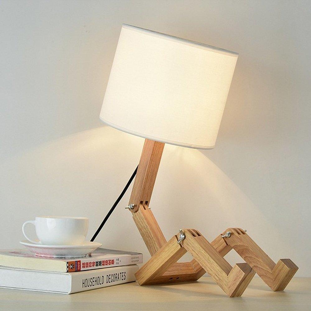 Holz Tischlampe Tischleuchte Leseleuchte Nachttischlampe Modern Kreativ DIY Flexibel Einstellbar Arm Charakter Modellieren Stoff Textil Lampenschirm mit On-Line Schalter für Schlafzimmer Wohnzimmer