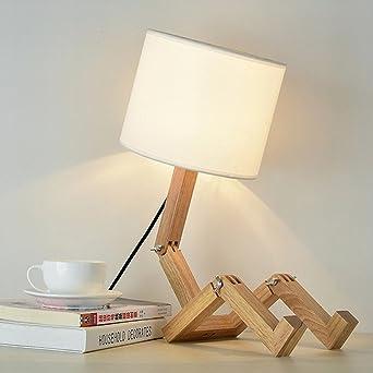 Holz Tischlampe Tischleuchte Leseleuchte Nachttischlampe Modern