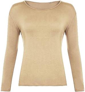 b6cb6502b Z&H Ladies Womens Plain Long Sleeve Round Neck Top Basic T Shirt Layering  Plus Sizes UK