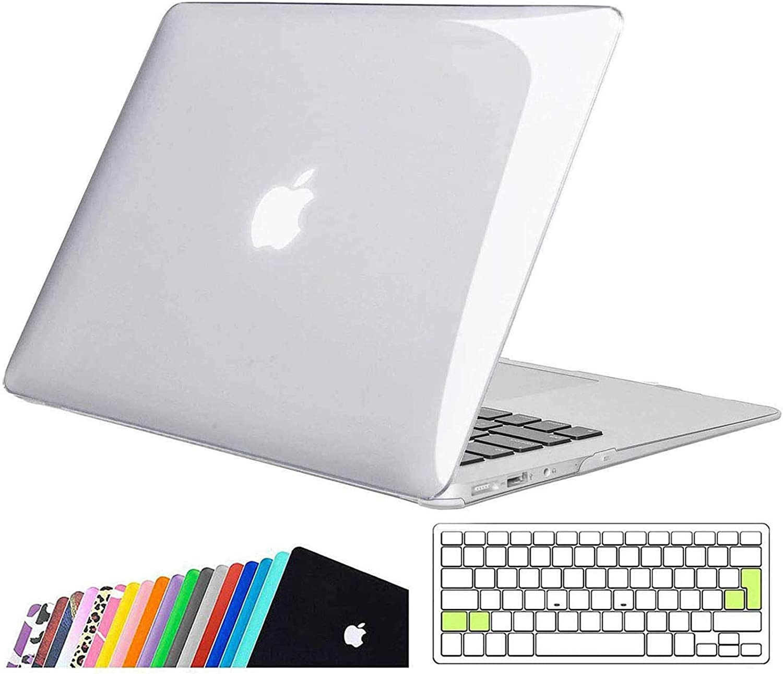iNeseon MacBook Air Funda de 13 Pulgadas (Modelo A1466 A1369), Protectora Rígida Carcasa con Cubierta de Teclado para MacBook Air 13 2010-2017 (Tamaño 32.5 x 22.7cm), Cristal Claro