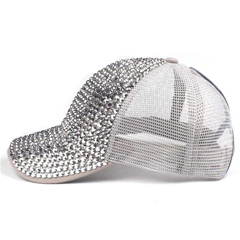 Summer Rhinestone Ponytail Baseball Cap Mesh Hats for Women Girl Messy Bun Casual Baseball Hats Gorras Hats