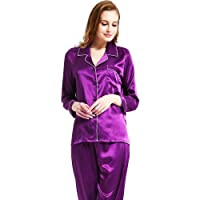 3192c8bf9e Womens Silk Satin Pajamas Set Sleepwear Loungewear XS~3XL Plus