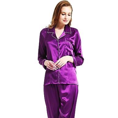 c5ee15d7b7e4 Womens Silk Satin Pajamas Set Sleepwear Loungewear XS~3XL Plus at Amazon Women s  Clothing store