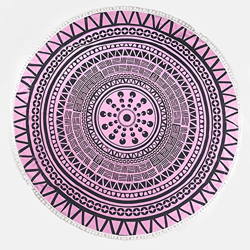ANswet 900 Grams Superior Manual Beaded Tassel 100% Cotton 59 inches Round Beach Towel Throw Tapestry Gypsy Tablecloth Yoga Mat cut velvet Super Soft (pink star ()
