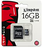Kingston SDC4/16GB Memoria MicroSDHC con Adattatore SD, 16 GB, Class 4