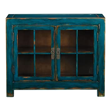 Ethan Allen Ming Small Media Cabinet, Aged Teal