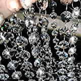 XGpie 16.4Ft Clear Crystal Glass Beads Lamp Chain Chandelier Decoration for Wedding Home and DIY Craft Jewelry Making
