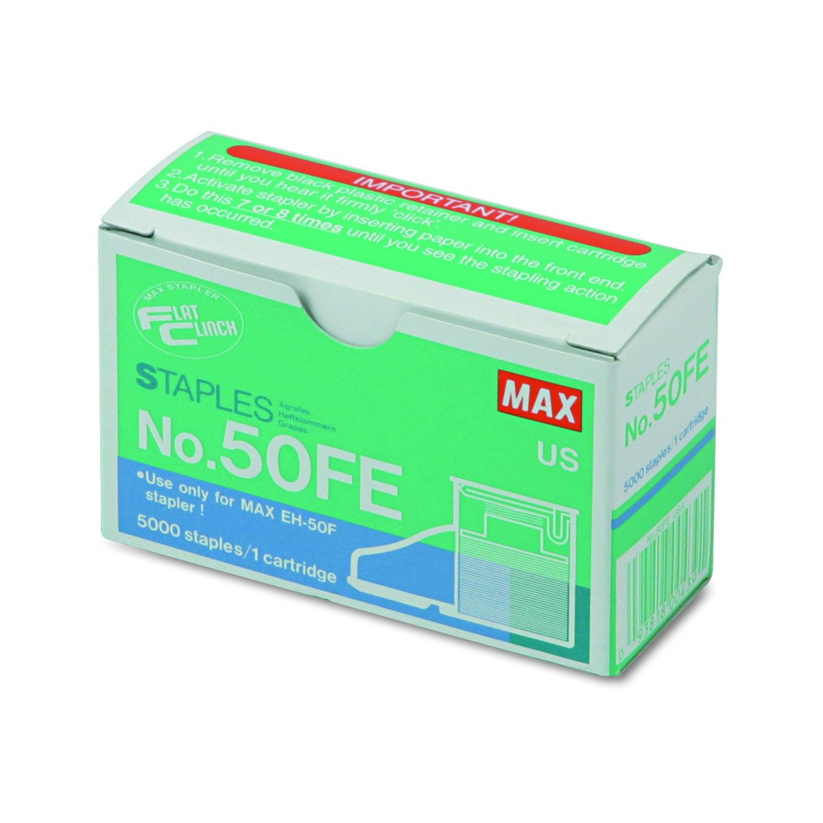 Max 50-FE Staple Cartridge for EH-50F Flat-Clinch Electric Stapler, 5000/Box