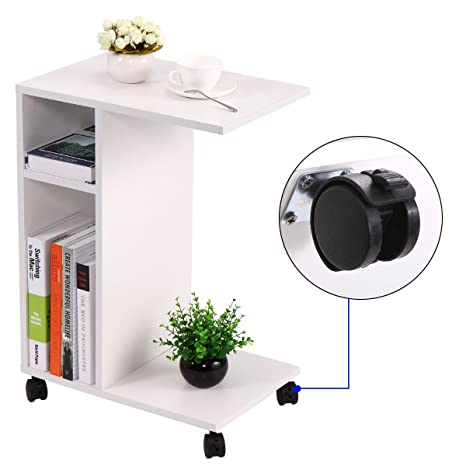 wooden chair side. JAXPETY Chair Side End Table White Wooden Shelf Living Room Furniture With Rolling Wheels